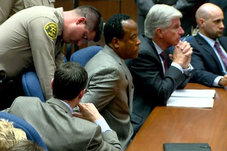 LOS ANGELES, CA - NOVEMBER 07: In this TV frame grab, Dr. Conrad Murray is remanded into custody after the jury returned with a guilty verdict in his involuntary manslaughter trial at the Los Angeles Superior Court on November 7, 2011 in Los Angeles, California. Murray was convicted in the 2009 death of pop singer Michael Jackson from an overdose of the powerful anesthetic propofol. Sentencing will take place November 29. (Photo by Pool/Getty Images)